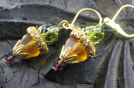 Olive Amber Glass Filigree Earrings
