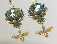 Queen Bee Deep Olive Green Filigree Earrings