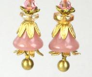 Pink Glass Petal Bell Earrings