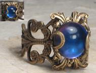 Moody Blue Filigree Ring