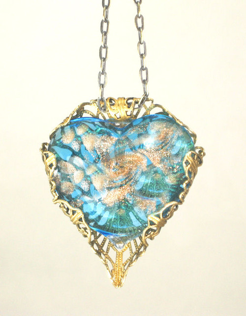 Turquoise/Gold Blown Glass Heart Filigree Necklace