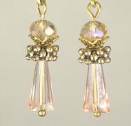 Peach glass cylinder earrings