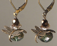 Mottled Green and Bronze Dragonfly Earrings