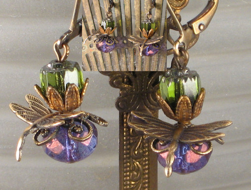 Purple and Olive Green Dragonfly Earrings