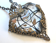 Big Silvery Glass Heart Pendant Necklace