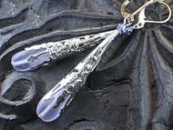 Lilac lavender glass filigree earrings