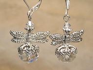 Crystal Clear Silvery Dragonfly Earrings