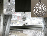 Crystal & Large Silver Medallion Swirl Shade Pull