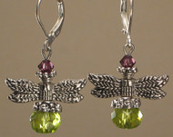 Green and amethyst glass silver dragonfly earrings