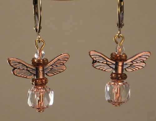 Copper metal and glass dragonfly earrings