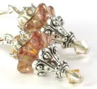 Neutral blush flower glass earrings