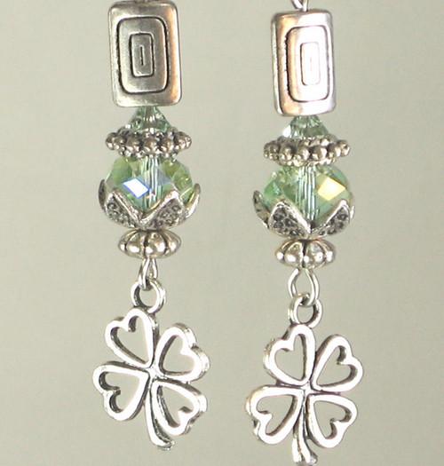 Green and Silvery Clover Irish Shamrock Earrings