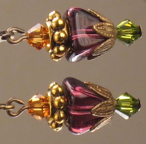 Purple, Amber, Olive Pyramid Earrings