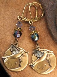 Hummingbird Over the Midnight Moon Antiqued Earrings