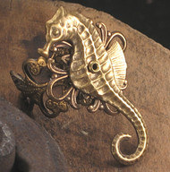 Burnished Brass Seahorse Ring