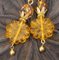 Antique Amber Glass Flower Earrings