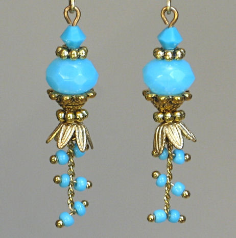 Antiqued Pompeii Turquoise Blue Sky Earrings