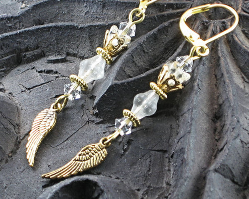 Clear Crystal Glass Angel Wing Earrings