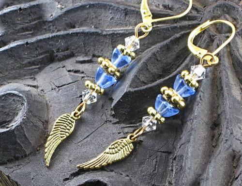 Sky Blue Glass Angel Wing Earrings