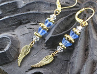 Sky Blue Glass Angel Wing Earrings