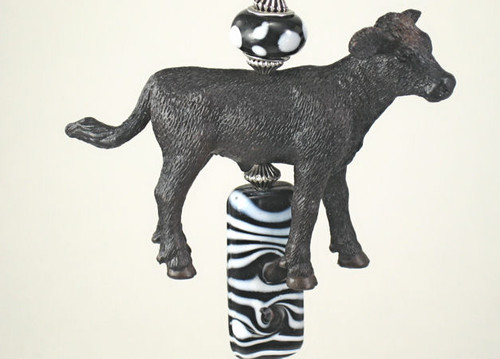 Black and White Cow Ceiling Fan Pull