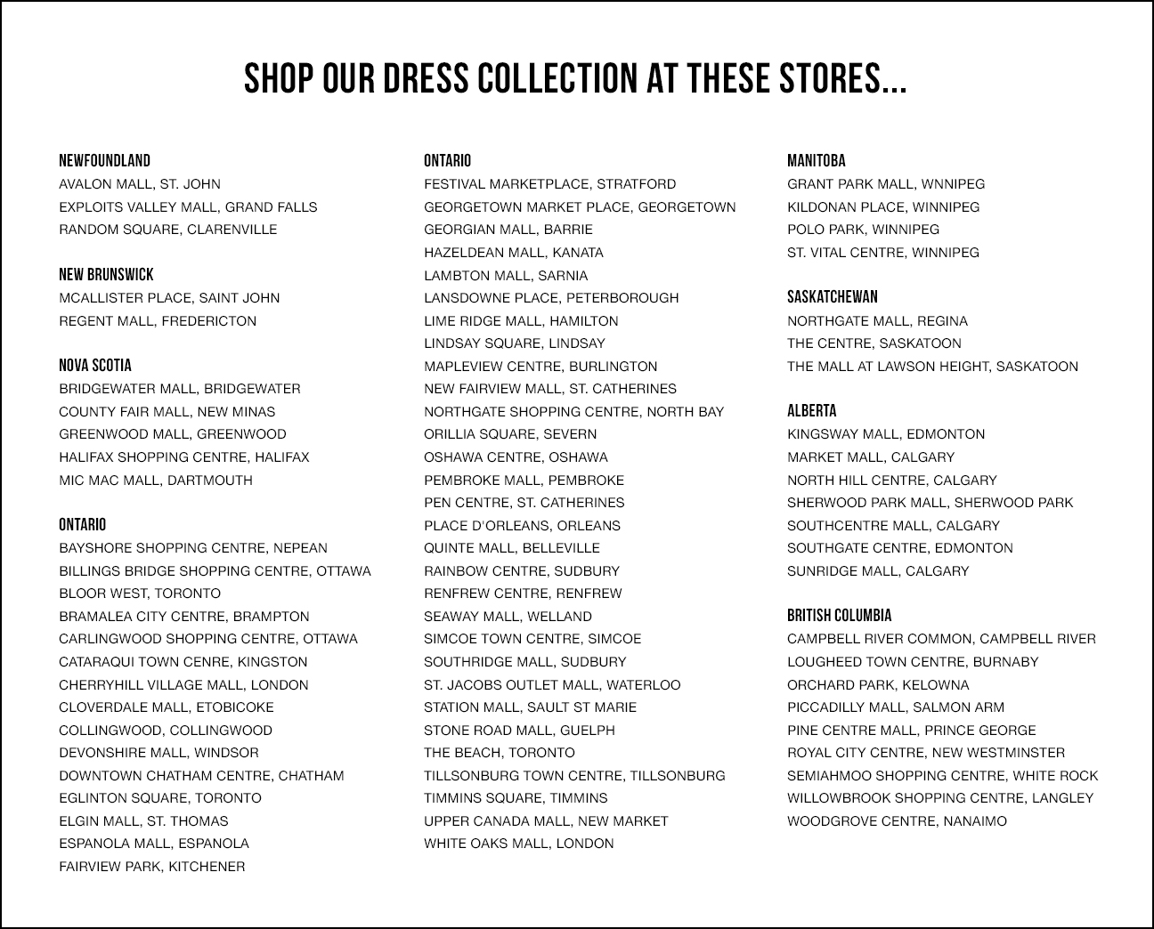 Dress Stores | Northern Reflections Canada