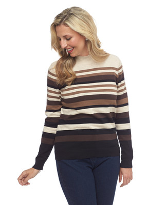 NEW - Stripe Mock Neck Sweater