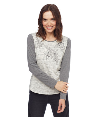 Woman in grey in lightweight cotton printed sweater