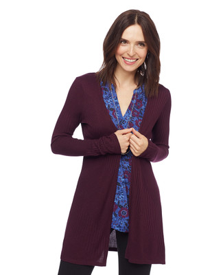Woman in claret ribbed long open front cardigan