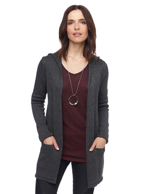 Woman grey hooded open front cardigan