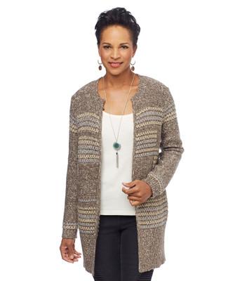 Woman in tan long cardigan coat