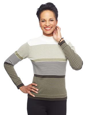 Woman in long sleeve loden stripe mock neck top