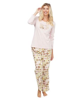 Baked Goods pattern two-piece cotton pyjama set