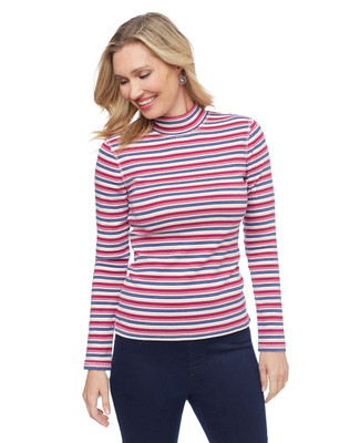 Striped mock neck long sleeve tee in various colours