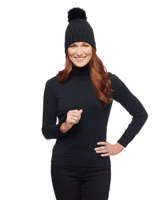 Black knitted winter hat with pom pom