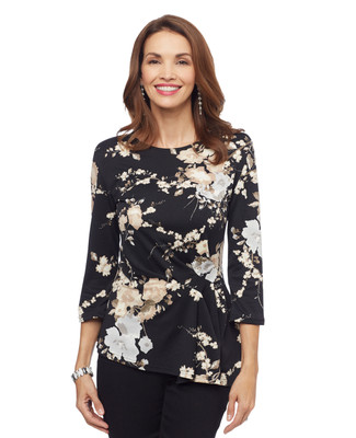 Woman's black three quarter sleeve floral top with front pleat
