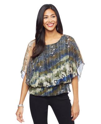 Woman's navy multi colour flutter sleeve blouse