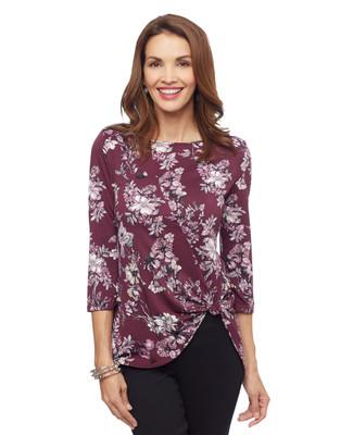 Woman's plum purple floral tie knot blouse