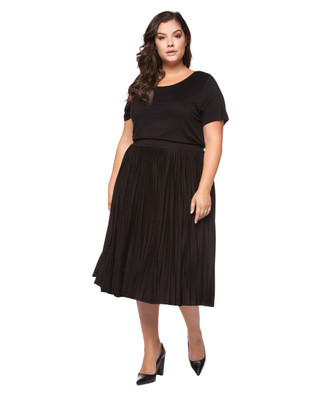 Women's plus size pleated midi skirt.