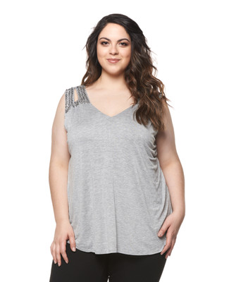 Women's plus size sleeveless sequin tunic.