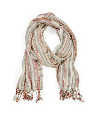 Women's antique vanilla metallic slub scarf