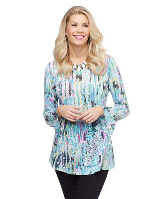 Women's sea blue burnout tunic top with bell sleeves
