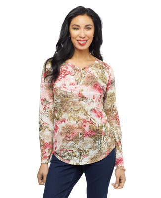 Women's portwine floral lace up burnout peasant top