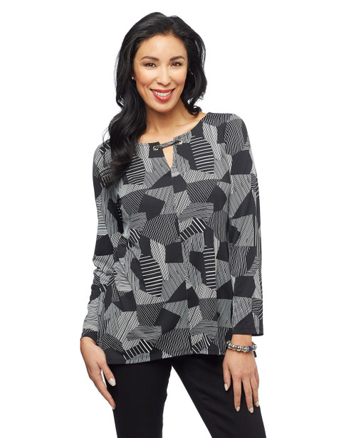 Women's black and white grommet keyhole cut out patchwork top