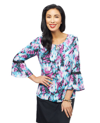Women's bell sleeve top with butterfly blouse pattern