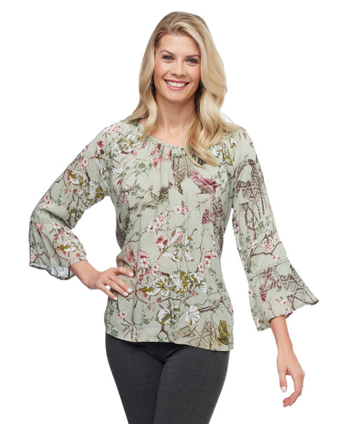 Women's sage top with floral design and bell sleeves