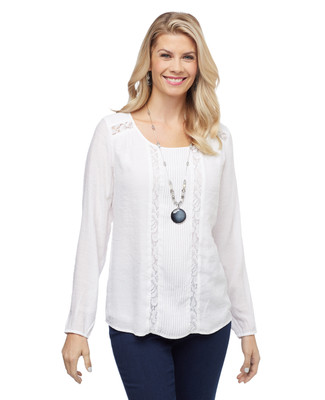Women's bell sleeve blouse with lace trim