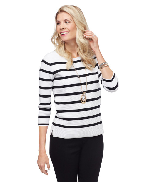 Women's fitted white and black striped sweater with three-quarter sleeves