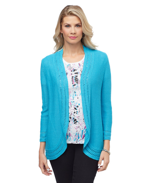 Women's long cardigan with open front and decorative knit