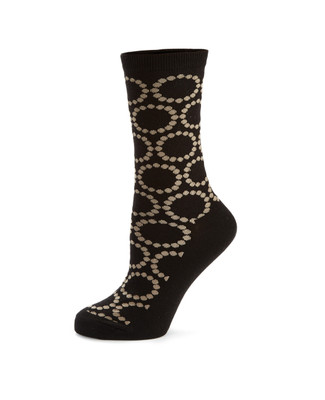 Women's black socks with circle dot